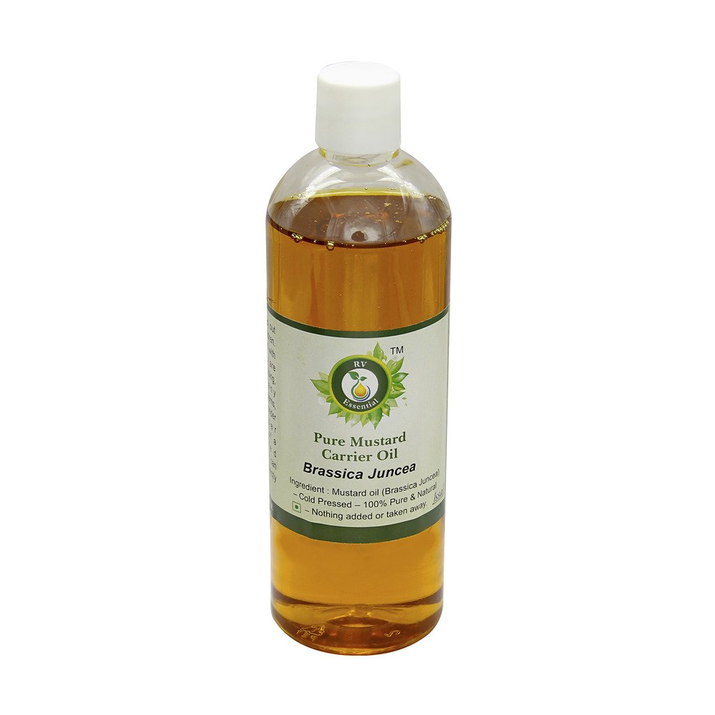 R V Essential Pure Mustard Carrier Oil 100ml (3.38oz)- Brassica Juncea (100% Pure and Natural Cold Pressed)