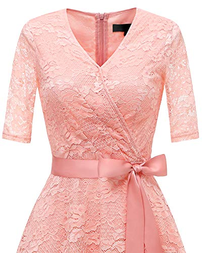 Vestido Cinturón Media Mujeres V De Encaje Manga Cóctel Blush con De Bridesmay Floral Cuello Fiesta OwzSCxtq