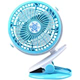 Minisized fan / Clip fan / USB powered fan / Travel and Outdoor fan / Small portable fan (blue)