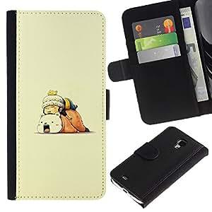 YiPhone /// Tirón de la caja Cartera de cuero con ranuras para tarjetas - Spleey Amigos - Samsung Galaxy S4 Mini i9190