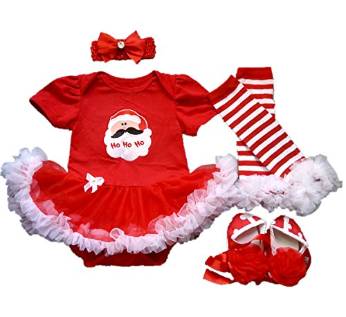AISHIONY Baby Girl 1st Christmas Red Santa Costume Tutu Dress Newborn Outfit S (Santa Baby Outfit)