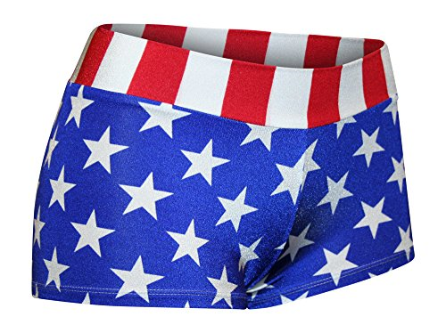 Dilly Duds USA Spandex Booty Shorts. Mid-Rise and Regular Length. American Flag. (Lycra Bootie)
