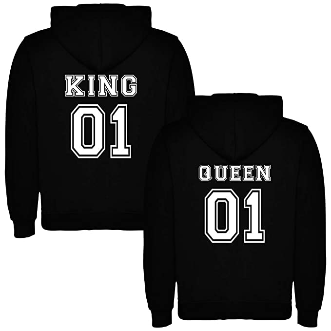 Pack de 2 Sudaderas Negras para Parejas, King 01 y Queen 01, Blanco (