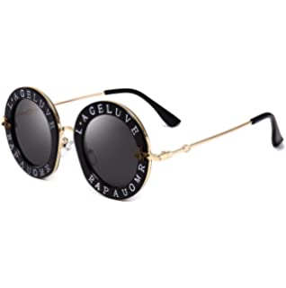 dcbf736246 Casual Fashion Eyewear Women Vintage Bee Lettering Round Circle Frame  Sunglasses