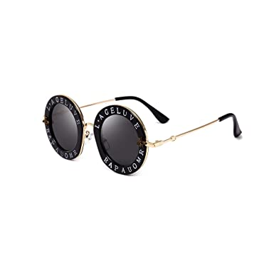 d4963e4bb3 Amazon.com  Black Casual Fashion Eyewear Women Retro Vintage Classic Bees  Lettering Sunglasses Round Circle Frame Sunglasses For Women Men  Clothing