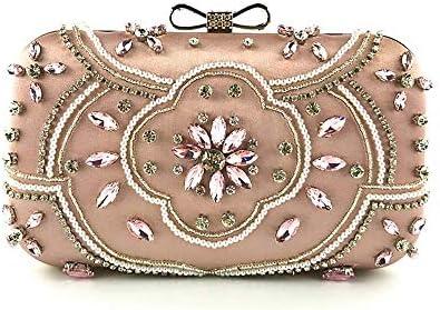 ピンククリスタルラインストーンイブニングクラッチ、女性エレガントな弓真珠の日クラッチ結婚式の宴会財布、古典的な優雅さ 美しいファッション