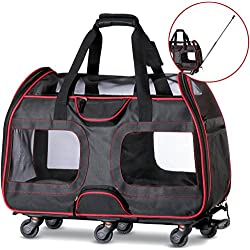 """WPS Airline Approved Removable Wheeled Pet Carrier for Small Pets. Upgraded Structural Design for Ultimate Strength, Features Mesh Panels & Plush Mat. Compact and Durable. 19""""x22""""x11"""" (Black)"""