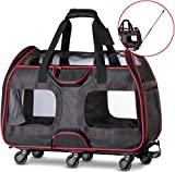 WPS Airline Approved Removable Wheeled Pet Carrier for Small Pets. Upgraded Structural Design for Ultimate Strength, Features Mesh Panels & Plush Mat. Compact and Durable. 19'x22'x11' (Black)