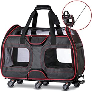 "Katziela Airline Approved Pet Carrier with Wheels for Small Dogs and Cats - Removable Fleece Bed, Soft Sided, Mesh Windows, Leash Clip, Handle, Carrying Strap – 11""x22""x16"" - Classic Design 45"