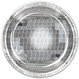 Pack of 96 Disposable Shimmering Silver Disco Ball Dinner Plates 9''