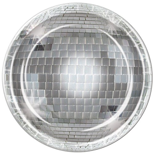 Pack of 96 Disposable Shimmering Silver Disco Ball Dinner Plates 9'' by Party Central