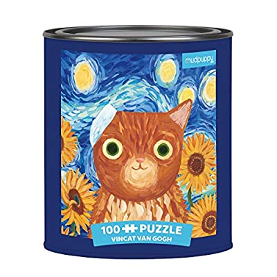"""Mudpuppy Vincat Van Gogh Artsy Cat Puzzle Tin, 100 Pieces, 12""""x12"""" – Perfect Family Puzzle for Ages 6+ - Colorful Feline Portraits Inspired by Great Artists – Paint Can Package – Fun Indoor Activity: Toys & Games"""