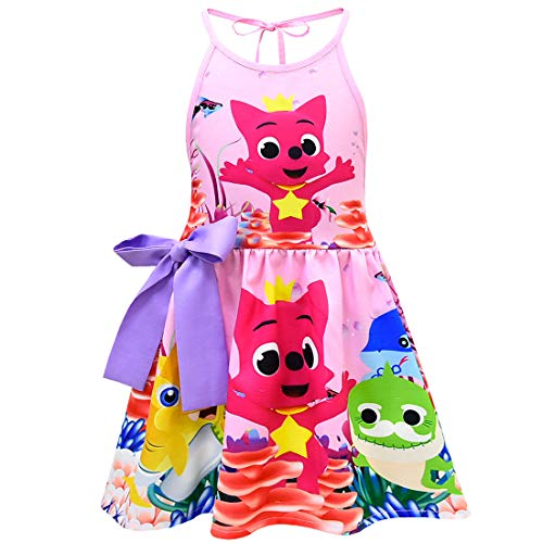 (Coralup Toddler Girls Baby Shark Backless Sundress(Pink,5-6 Years))