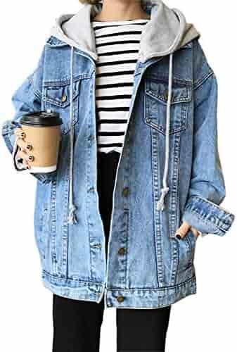 d81b1fd2023a8 Gihuo Women s Oversized Loose Boyfriend Denim Jacket Hooded Jean Jacket