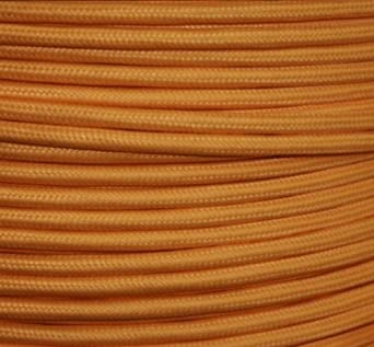 Bunte Kabel textilkabel stoffkabel lenkabel light orange 2 adrig rund 2 x