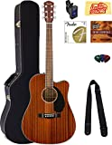 Fender CD-60SCE Dreadnought Acoustic-Electric Guitar - All Mahogany Bundle with Hard Case, Tuner, Strap, Strings, Picks, Instructional DVD, Polishing Cloth