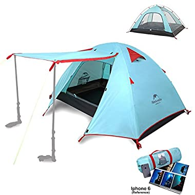 Naturehike 2 3 4 Person 3 Season Backpacking Tents for Camping, Ultralight Waterproof Vestibule Awning Two Doors Double Layer with Aluminum Rods for Family Beach Hunting Hiking (Cyan Blue, 3 Person)