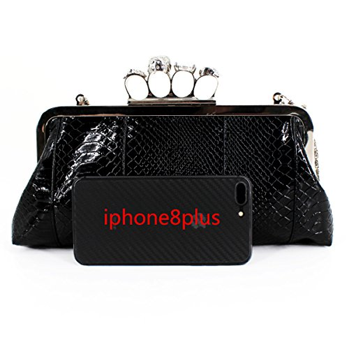 Knuckle Millya PU Clutch Bag Women Handbag with Chain Skull Party Evening Style Ring Shoulder Leather Black Bag Punk UzUqxFR