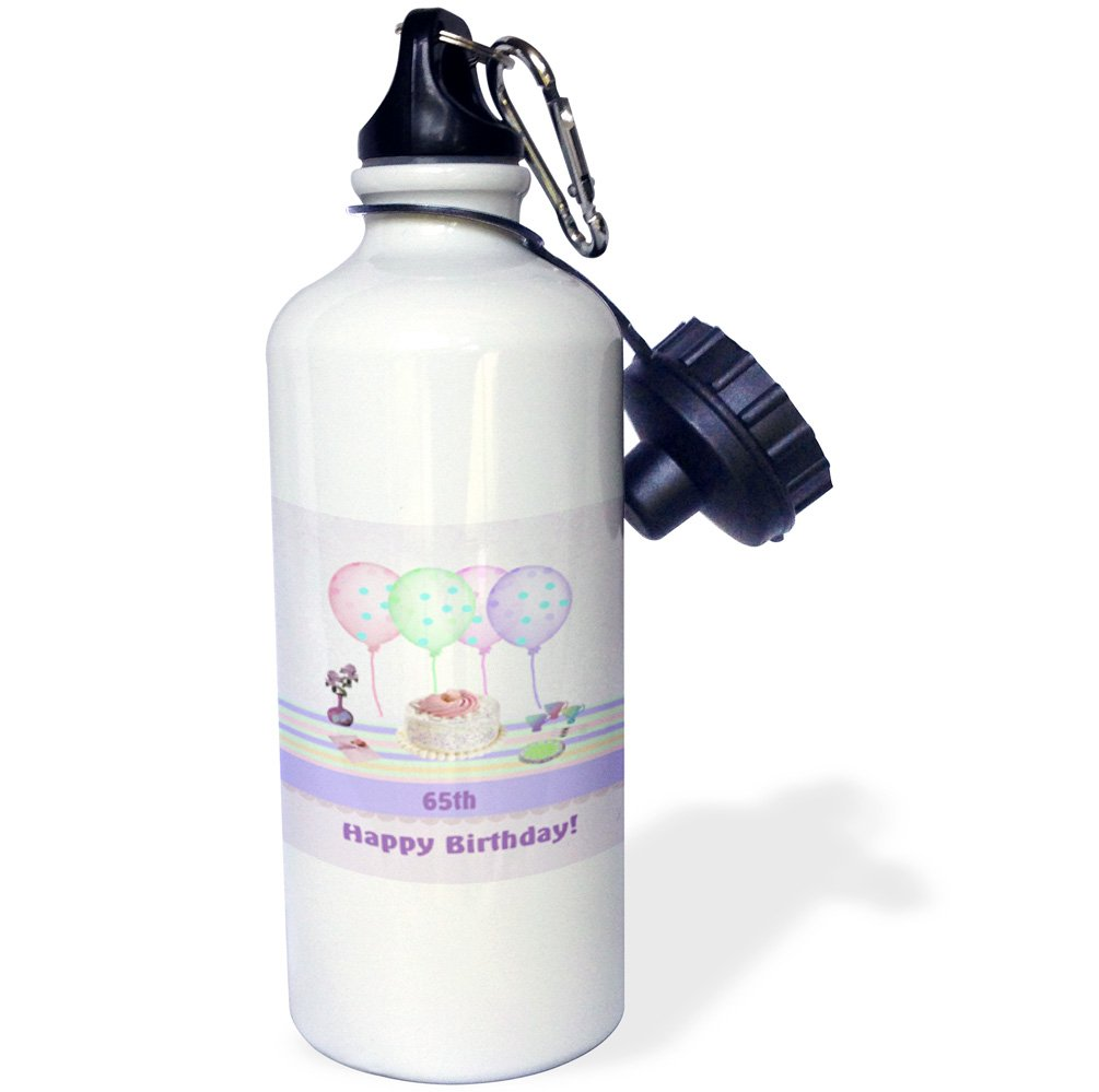 3dRose wb/_113262/_165th Icing Cake with Balloons and Vase of Flowers 21 oz Pastels Sports Water Bottle White