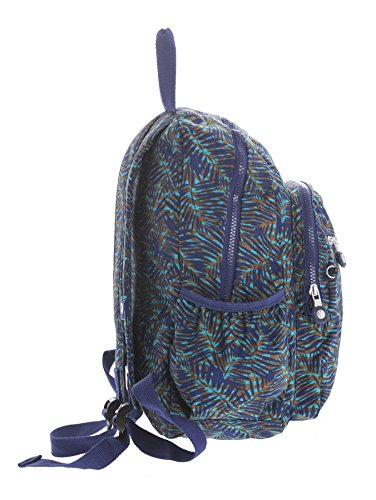 Big Handbag Shop - Bolso mochila  de tela para mujer Backpack Style 2 - Blue Leaves