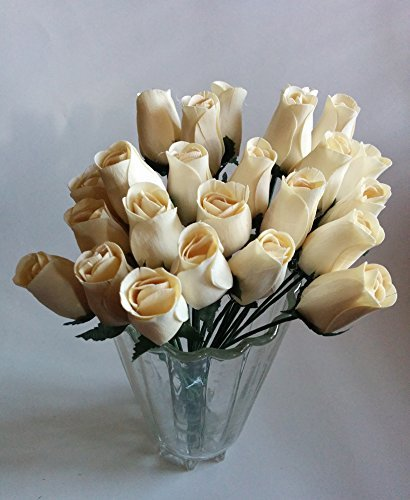 Aariel's Attic 24 Beautiful Realistic Ivory White Wooden Roses (Standard Version)