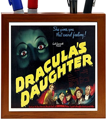 Rikki Knight Vintage Movie Posters Art Dracula's Daughter 5 Design 5-Inch Wooden Tile Pen Holder (RK-PH3708)