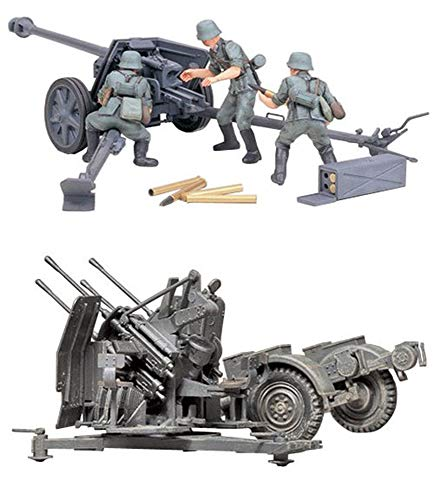 (2 Sets of Tamiya Military Assembly Models - German Guns - 75 mm Pak 40/L46 and 20 mm Quad Flak (Flakvierling) 38 Sets (Japan Import))