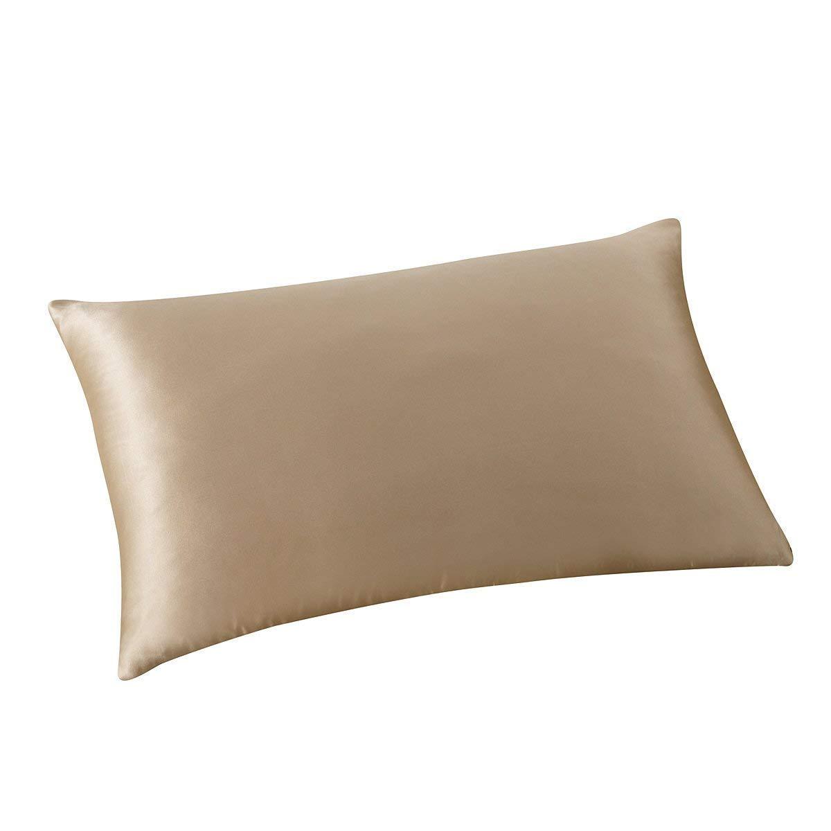 ALASKA BEAR - Natural Silk Pillowcase, Hypoallergenic, 19 Momme, 600 Thread Count 100 Percent Mulberry Silk, Queen Size with Hidden Zipper (1, Light Coffee)