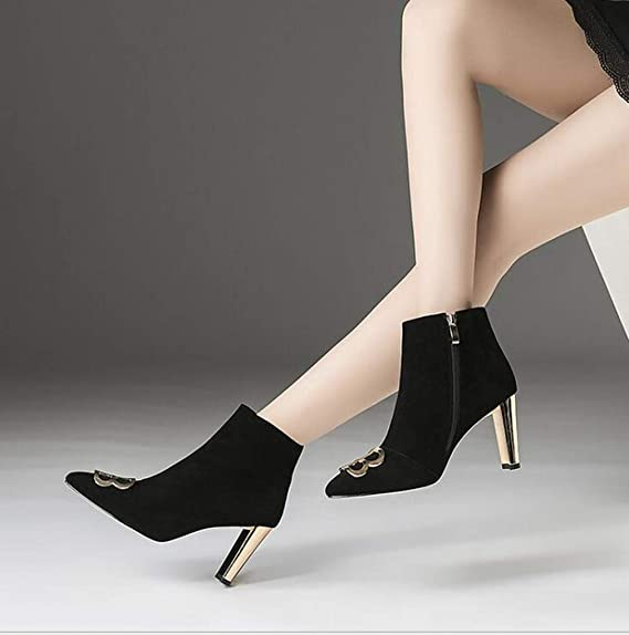 Amazon.com: Hy Womens Boots, Leather Fall/Winter Thick Heel Booties,Ladies Comfort High-Heeled Ankle Boots,Fashion Boots Formal Shoes Office & Career Party ...