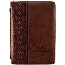 """Trust"" Brown Tile Design Bible / Book Cover - Proverbs 3:5 (Large)"