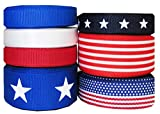 """HipGirl Holiday Summer, 4th of July Grosgrain Ribbon Collection--(35yd 3/8"""" & 7/8"""" Patriotic Grosgrain Ribbon)-Color or Pattern May Vary"""