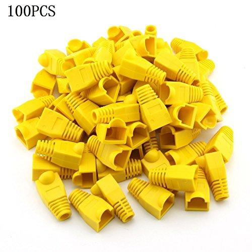 Bluesky 100 Pcs Yellow Soft Plastic CAT5E CAT6 Ethernet RJ45 Cable Cap Connector Boots Plug Cover Strain Relief Boots (Soft Plastic Cover)