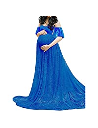 Sicily Women Floral Lace Maternity Long Dresses Pregnant Photography Props