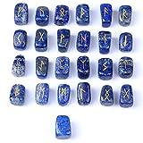 Lapis Lazuli Rune Stones Set Engraved Pagan
