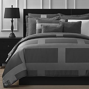 Comfy Bedding Frame Jacquard Microfiber King 8-piece Comforter Set, Gray