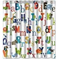 Yeho Art Gallery Abc Alphabet Waterproof Fabric Polyester Bathroom Shower Curtain 66 W X 72 H