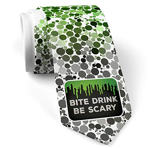Neck Tie with Bite Drink Be Scary Halloween Green Slime White with Color -