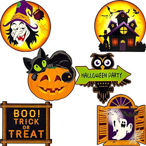 Large Halloween Party Cutouts 6PCS Pumpkin Cat Ghost