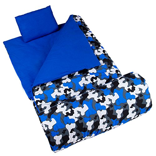 (Wildkin Original Sleeping Bag, Features Matching Travel Pillow and Coordinating Storage Bag, Perfect for Sleeping On-the-Go – Blue Camo)