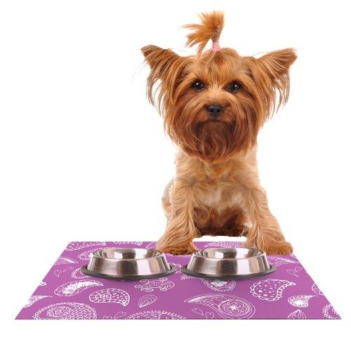 Kess InHouse Anneline Sophia Tropical Paisley  Purple White Feeding Mat for Pet Bowl, 18 by 13