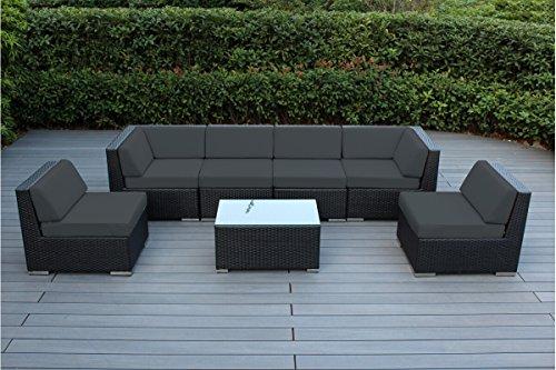 Sofa Sunbrella - Genuine Ohana Outdoor Patio Wicker Sectional Furniture 7pc Sofa Set (Sunbrella Coal)-No Assembly with Free Patio Cover