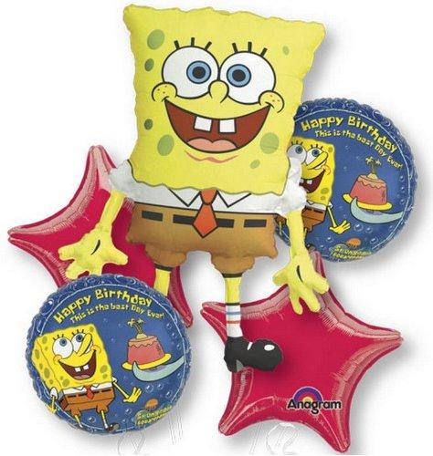 Sponge Bob Balloon Birthday Party Favor Supplies 5ct Foil Balloon Bouquet by Anagram