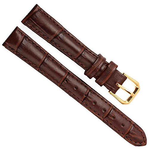 Leather 70's Watch Band (Bamboo Genuine Leather Watch Band Strap Gold Buckle (14mm, Alligator Leather/Brown))
