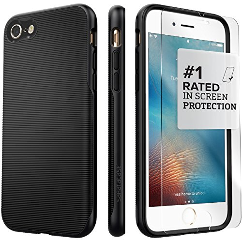 iPhone 7 Case, (Black) SaharaCase Trend Protective Kit Bundle with [ZeroDamage Tempered Glass Screen Protector] Rugged Protection Anti-Slip Grip [Shockproof Bumper] Slim Fit - Black