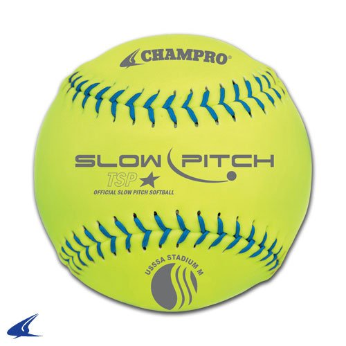 Champro Stadium Leather USSSA Slow Pitch (Optic Yellow, 12-Inch) by CHAMPRO