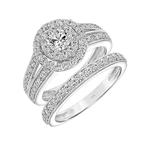 (Brilliant Expressions 14K White Gold 1.5 Cttw Conflict Free Diamond Round Double-Halo Split-Shank Bridal Ring Set (I-J Color, I2-I3 Clarity), Size 8)