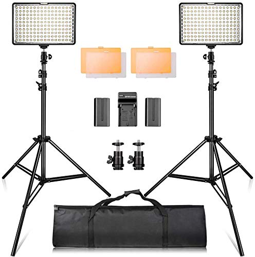 """SAMTIAN LED Video Light Kit with 79""""Adjustable Light Stand, 2-Pack Dimmable Photography Lighting with Carrying Bag…"""