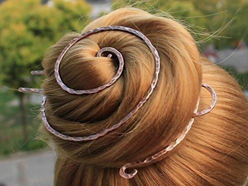 Copper Bun Cage Hair Fork with Ceramics Beads, Textured Bun Holder, Hair (Copper Curve)