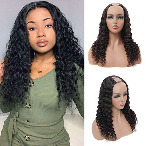 BLY U Part Wigs Human Hair 16 Inch Deep Wave Curly Virgin Hair Wigs 2″x4″ Middle Part Clip In Hair Extensions Glueless Half Wigs for Black Women 150% Density Natural Color