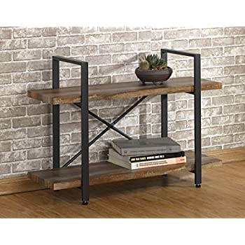 furniture industrial style. O\u0026K Furniture 2-Tier Rustic Wood And Metal Bookshelves, Industrial Style Bookcases N